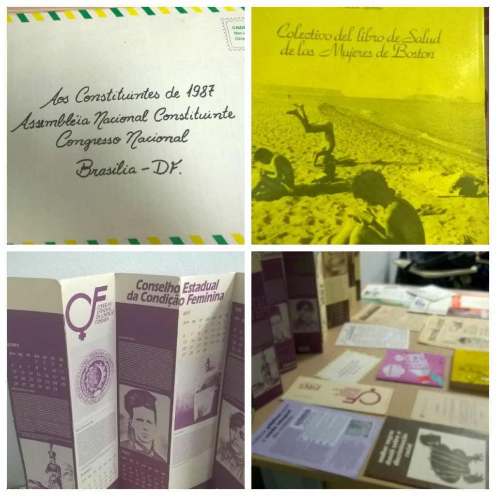Carta Aos Constituintes de 1987; Livro de Saúde Coletivo das Mulheres de Boston;  Calendário do Conselho Estadual da Condição Feminina; Material reunido